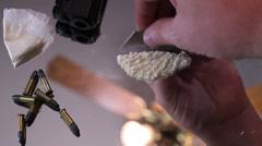 Bullets gun cocaine time lapse Stock Footage