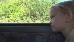 Child Traveling by Car, Girl Looking out Window During Drive, Trip in Country Stock Footage