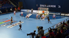 Women's handball world championship Stock Footage