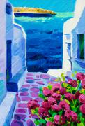 santorini view - stock illustration
