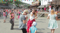 irls and women learn to dance in the open air with true brasilian lectors - stock footage