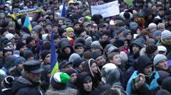 Demonstration of Euromaidan at Maidan Nezalezhnosti, Kiev, Ukraine Stock Footage