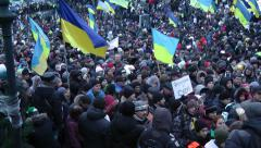 Demonstrates of Euromaidan at Maidan Nezalezhnosti in Kiev, Ukraine - stock footage