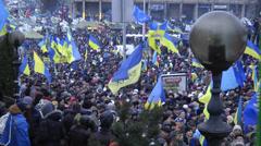 Fantastic people of Euromaidan at Maidan Nezalezhnosti in Kiev, Ukraine Stock Footage