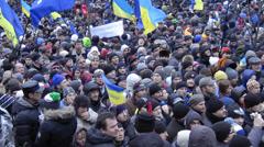 March of Millions at Maidan Nezalezhnosti in Kiev, Ukraine Stock Footage