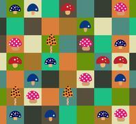 The mushroom field Stock Illustration