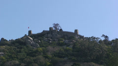 Moors castle from Sintra town Stock Footage