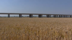 Construction  high-speed railway track, a straight line in countryside Stock Footage