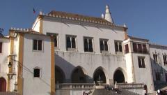 Pan on Sintra National Palace Stock Footage