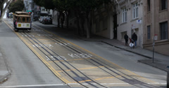 Ultra HD 4K UHD People Commuters, Old Buildings San Fran Tram Trip in Cable Car Stock Footage