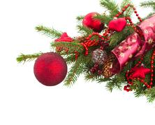 Evergreen fir tree and red christmas balls Stock Photos