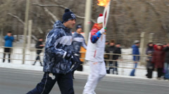 Olympic torch relay in omsk. russia. Stock Footage