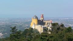 Palacio de Pena on the mountain Stock Footage