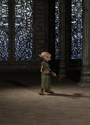 Goblin Servant Girl with Broom Stock Illustration