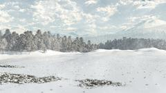 Distant Winter Woodland in Snow - stock illustration