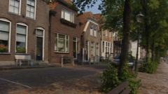 Blokzijl historical city cobbled street + pan quay and marina Stock Footage