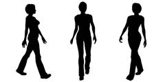 Woman Walking Silhouettes - stock illustration
