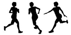 Female Runner Silhouettes Stock Illustration