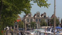 Blokzijl marina + historical Dutch village Stock Footage
