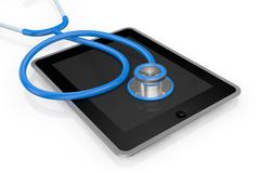tablet pc and stethoscope - stock illustration