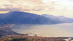 Pompei Valley, view from Mount Vesuvius. Italy Stock Footage