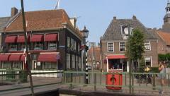 Blokzijl Draw bridge and lock + pan canal Stock Footage