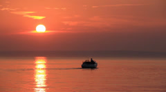 Fantastic Beautiful Ruddy Golden Romantic Sea Sunset Motorboat 1 Stock Footage