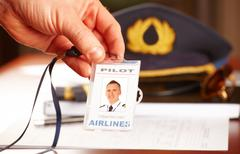 professional airline pilot equipment - stock photo