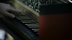 Classical Orchestra: Harpsichord player Stock Footage