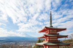 Red pagoda with mountain fuji japan Stock Photos