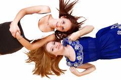 Two girlslying on floor. Stock Photos