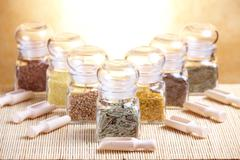 Glass jars with ingridients Stock Photos