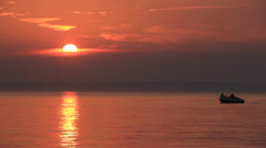 Fantastic Beautiful Ruddy Golden Romantic Sea Sunset Motorboat 2 Stock Footage