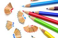 Stock Photo of sharpening colored pencils