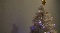 Glowing White Christmas Tree - M - 1920x1080 - 1 minute loop Stock Footage