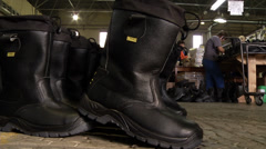 Finished shoes-black factory Stock Footage