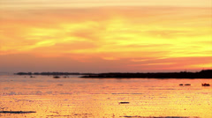 Sunset in Ria Formosa natural conservation region Stock Footage