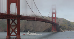 Ultra HD 4K UHD Coast Guard Patrol in San Francisco Bay Area, Golden Gate Bridge Stock Footage