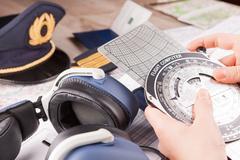 airplane pilot equipment - stock photo