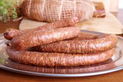 cold smoked sausage - stock photo