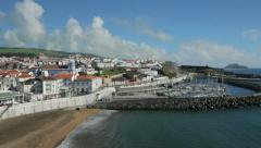general view of town and harbour, angra do heroismo, terceira island, azores - stock footage