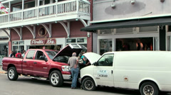 KeyWest 026HD, Downtown, Service for a Car Breakdown on the Street Stock Footage