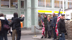 charlie checkpoint berlin - stock footage