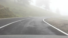 Drive on misty road Stock Footage