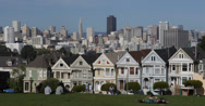 Stock Video Footage of Ultra HD 4K Alamo Square Park Famous Victorian Row Houses San Francisco Skyline