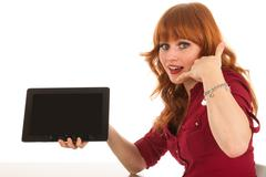 Woman showing tablet and ask to call us Stock Photos