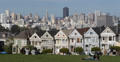 Ultra HD 4K Famous Victorian Row Houses San Francisco Skyline Painted Ladies Footage