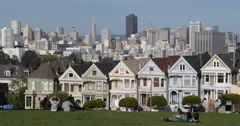 Ultra HD 4K Famous Victorian Row Houses San Francisco Skyline Painted Ladies Stock Footage