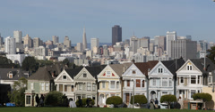 Ultra HD 4K Painted Ladies Iconic Victorian Row Houses San Francisco Skyline Stock Footage