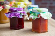 Stock Photo of different tastes home made jam
